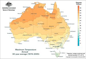 Max Temp from 1976 - 2005