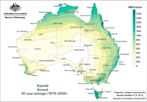 Annual Rainfall average from 1976-2005