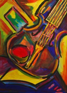 """expressionist violin"" painting by Steve Johnson."